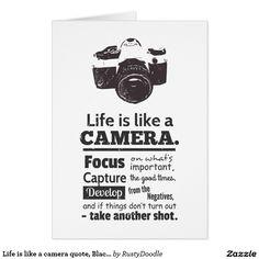 La vie est comme une citation d'appareil-photo, carte de vœux