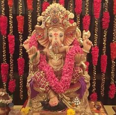 Top 81 fresh, creative & innovative Ganpati decoration ideas for home that is not only unique but easy on pocket as well. Ganesh Chaturthi Decoration, Ganesh Chaturthi Images, Diwali Decorations At Home, Festival Decorations, Ganesh Pooja, Shree Ganesh, Ganesh Utsav, Flower Decoration For Ganpati, Baby Ganesha