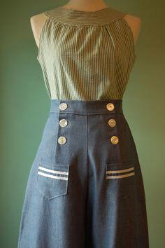 1930's 1940's vintage style black wool gabardine sailor pants  CUSTOM