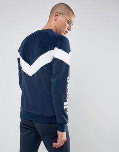 Ellesse Velour Chevron Sweatshirt In Navy - Navy