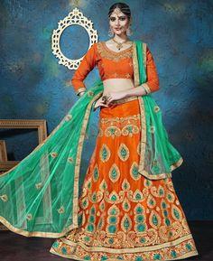 #hey @a1designerwear . Item code: KSF5168 . Buy Stunning Orange #Lehenga #Choli #onlineshopping with #worldwideshipping at  https://www.a1designerwear.com/stunning-orange-lehenga-choli-9   . #a1designerwear #a1designerwear . #instashop #worldwide #thankyou