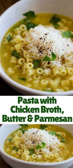 This Pasta with Chicken Broth, Butter and Parmesan is pure comfort food! It is a… This Pasta with Chicken Broth, Butter and Parmesan is pure comfort food! It is a bowl of wonderful, warming, healing amazingness. One spoonful and you… Continue Reading → Pasta Recipes, Chicken Recipes, Dinner Recipes, Cooking Recipes, Healthy Recipes, Cooking Pork, Cooking Gadgets, Dinner Ideas, Cooking Broccoli