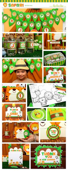 Safari Birthday Party Package Collection Set Mega Personalized Printable Design by leelaaloo.com