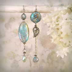 Daybreak Asymmetric Earrings - Smoky Teal Aqua - Unique Blue Earrings - Mermaid Jewelry - Beach Wedding - Seashell Beads - Petite Length. $49.00, via Etsy.