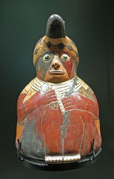 Pottery in the shape of a shaman. Terracotta.Nazca culture,Peru.