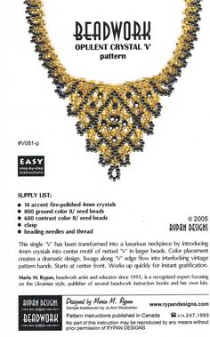 Crystal V Beadwork Necklace Tutorial Beaded Necklace Pattern