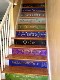 Book Title Decals for stairs the price is for EACH step treppe Custom Book Title Decals for stairs * the price is for EACH step riser. ANY title! Just send your book list & measurements to get started Book Stairs, Houses Architecture, Interior Architecture, Book Background, Paint Background, Deco Originale, Painted Stairs, Painted Staircases, Spiral Staircases