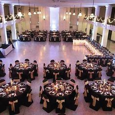 Black gold wedding - WeddingWednesday held this beautiful reception with our Black classic chair covers and Victorian Gold Duchess Satin Sashes centered by florals by Get the Gatsby Wedding, Gold Wedding, Dream Wedding, Great Gatsby Prom, Gatsby Party, Formal Wedding, Budget Wedding, Trendy Wedding, 60th Birthday Party