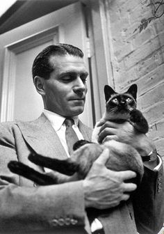Laurence Olivier Classic Movie Stars Spending Time With Their Pets Crazy Cat Lady, Crazy Cats, I Love Cats, Cool Cats, Siamese Cats, Cats And Kittens, Living Puppets, Celebrities With Cats, Celebs