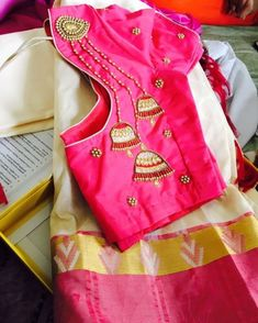 Blouse Designs For Wedding Silk Sarees Looking for blouse design to wear with your wedding silk sarees? Here are 19 pretty blouse choices to try and make your special saree even more special. Blouse Back Neck Designs, Kids Blouse Designs, Hand Work Blouse Design, Simple Blouse Designs, Stylish Blouse Design, Fancy Blouse Designs, Silk Saree Blouse Designs, Bridal Blouse Designs, Silk Sarees