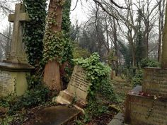 highgate cemetery tombstones, gothic graveyard, dracula cemetery, london uk burial ground, old tombstones