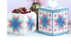 Pretty Pastels Tissue Box Cover and Potpourri Basket by HappyStitchingFinds on Etsy