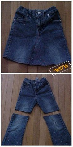 Ways to Alter Old Jeans into New Fashion for Your Wardrobe: DIY Ideas to Refashion Old Jeans into Demin Coats, Jackets, Skirts, Rompers Free Templates Diy Clothes Refashion, Shirt Refashion, Recycled Mens Shirt, Recycled Denim, Diy Clothes Projects, How To Make Skirt, Denim Crafts, Old Jeans, Clothing Hacks