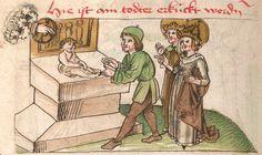 """Kalendarium, medizinische und astronomisch/astrologische Texte Johannes Birk (?): 'Stiftung des gotzhaus Kempten' (""""Karlschronik"""") Baumzucht Cgm 9470 Schwaben (Kempten?), 1499/um 1500 Folio 63v"""