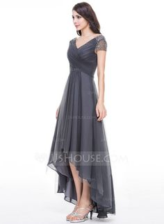 92a6b752b A-Line Princess V-neck Asymmetrical Tulle Evening Dress With Ruffle Beading  Sequins