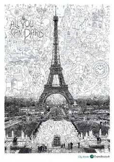 Expedia City Breaks:Paris by Sagaki Keita, a japanese artist who reshapes a drawing or a work of art and fills it with relevant micro-details.