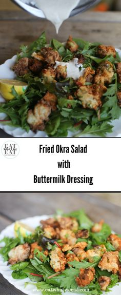 Fried Okra Salad: Crunchy on the outside, yet tender and mellow on the inside, fried okra is delicious on a salad and make a nice alternative to croutons. Okra Salad Recipe, Salad Recipes, Healthy Recipes, Yummy Recipes, Family Meals, Family Recipes, Buttermilk Dressing, Dessert For Dinner, Vegetable Side Dishes