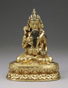 18th century, Bhutan, supreme buddha Vajrasattva and consort, gilt copper alloy with pigment, cold gold and turquoise inlay, lent by the Norbugang Zimgong Lakhang for the exhibition mentioned in previous post with photos by