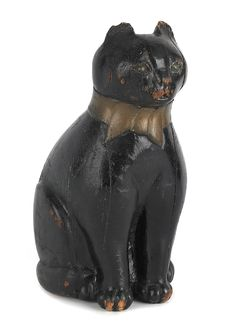 "Carved folk art figure of a seated cat, ca. 1915, 11 3/4"" h"