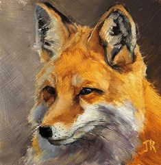 """Daily Paintworks - """"On The Sly"""" - Original Fine Art for Sale - © June Rollins Wildlife Paintings, Wildlife Art, Animal Paintings, Oil Paintings, Oil Painting Tips, Oil Painting For Sale, Paintings For Sale, Fox Art, Fine Art Gallery"""