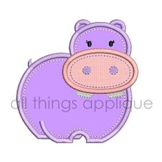 Baby Hippo Applique - 4 Sizes! | What's New | Machine Embroidery Designs | SWAKembroidery.com All Things Applique
