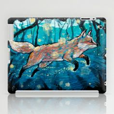"We Find Each Other iPad Case by Jellywell Art - $60.00 ""We Find Each Other / Even In the Dark"" Pillows & Prints. #jellywellart #foxes #ink #illustration #teenyvulpini #love #graphic #fox #foxy #foxden #foxlove #feelingfoxy #design #art"