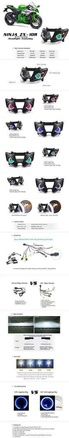 Kawasaki Ninja ZX-10R HID Projectors LED Headlight Assembly 2011-2015