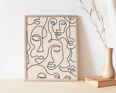 Single Line Face Art Print Minimalist Woman Line Drawing Simple Lines, Simple Art, Female Face Drawing, Face Line Drawing, Minimal Art, Single Line Drawing, Face Art, Easy Drawings, Printable Wall Art