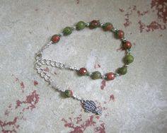 Demeter Prayer Bead Bracelet in Unakite: Greek Goddess of Grain, the Harvest, the Seasons, and the Afterlife by HearthfireHandworks on Etsy