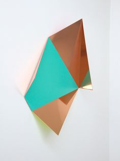 Rana Begum 'No. 361 Fold', 2013, Paint on lacquered mirror finish copper, 67x61x22 cm. Image courtesy Third Line Gallery.