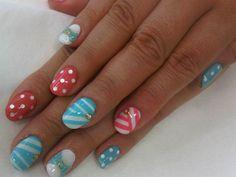 cute nails - pink and blue - nail art