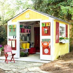 to Build the Garden Shed of Your Dreams Just moved? No place to store your lawnmower? Why not build a shed!Just moved? No place to store your lawnmower? Why not build a shed! Outdoor Storage Units, Shed Playhouse, Shed Makeover, Shed Organization, Storage Shed Plans, Potting Sheds, Potting Benches, She Sheds, Tool Sheds