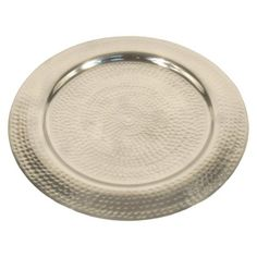 Tops of plant holder tables   Threshold™ Hammered Aluminum Round Serve Tray