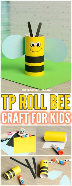 Cute Toilet Paper Roll Bee Craft for Kids #craftsforkids #Springcrafts #toiletpaperrollcrafts
