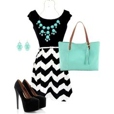 Black, White and Tiffany Blue on Polyvore