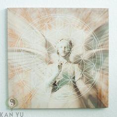 "Leinwanddruck ""Blume des Lebens"" Engel ca. 40 cm"