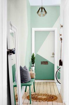 Room Wall Painting, Room Paint, Geometric Wall Paint, Dulux Valentine, Bedroom Wall Designs, Door Murals, Aesthetic Room Decor, Cool Doors, Door Makeover