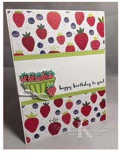 "Faithful INKspirations: Berry Happy Birthday is made with Stampin' Up's ""Fruit Basket"" stamp set. Tutti Frutti"