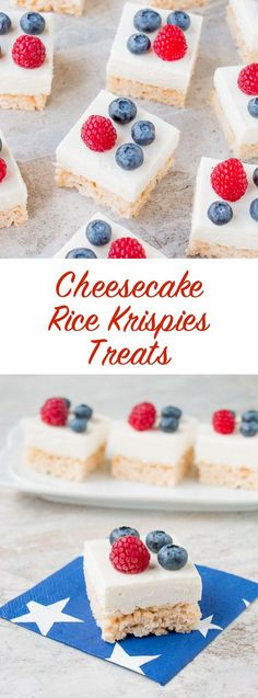 Rice Krispies treats combined with cheesecake makes these crunchy-creamy bars absolutely irresistible. Köstliche Desserts, Delicious Desserts, Dessert Recipes, Yummy Food, Baker Recipes, Strawberry Desserts, Cheesecake Recipes, Rice Krispies, Rice Krispie Treats