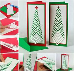 Creative Ideas - DIY Chevron Design Christmas Tree Card   iCreativeIdeas.com Follow Us on Facebook --> https://www.facebook.com/iCreativeIdeas