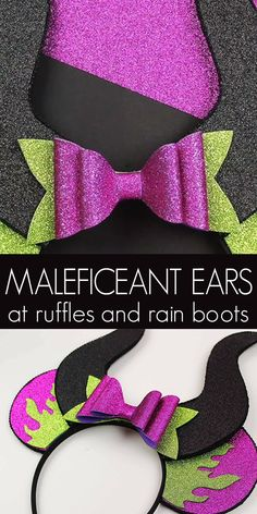 These Maleficent Minnie ears are the perfect accessory to a Halloween costume or to watch the new Maleficent 2 movie. It's a fun, no-sew Disney craft! Disney Diy, Diy Disney Ears, Disney Mickey Ears, Disney Crafts, Walt Disney, Disney Ears Headband, Disney Headbands, Minnie Mouse Headband, Headband Tutorial