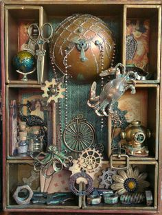Ladies, here today to share with you my Steampunk shadow box I made using a TH shadow box kit and Steampunk Debutante papers from . Shadow Box Kunst, Shadow Box Art, Shadow Box Frames, Altered Boxes, Altered Art, Steampunk Kunst, Steampunk Clock, Gothic Steampunk, Steampunk Necklace