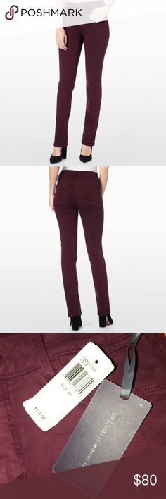 """NWT NYDJ Marilyn Straight Leg - 8P Original Slimming Fit NYDJ straight leg NWT. 96% Cotton and 4% Spandex. Lift Tuck Technology make you """"look a full size smaller""""! 8P beautiful deep currant color. NYDJ Jeans Straight Leg"""