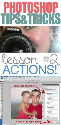 Photoshop Tricks & Tips #2: ALL ABOUT ACTIONS! Great screenshots to give you step-by-step tutorials!