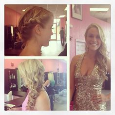 Side braid with curls for prom