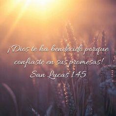 ¡Dios te ha bendecido porque confiaste en sus promesas! Lucas 1:45