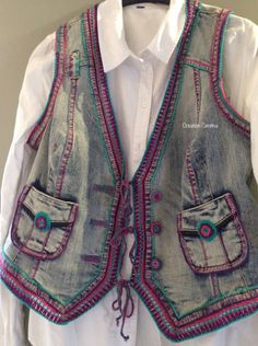 Ready made waistcoat - back - decorated - by Centina K. @CentLovesColour - at random with crochet and embroidery, mercerized cotton hook 1.5, 23.07.2016.