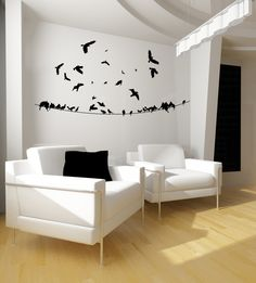 Lovely Flock of Birds on a Wire and Flying - Vinyl Wall Art Decal. $44.00, via Etsy.