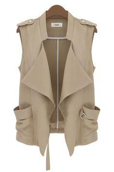 Brown Stand Collar Sleeveless Epaulet Jacket - Sheinside.com