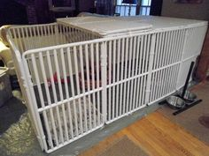 Indoor dog crate play pen Ideas for 2019 Baby Play Areas, Indoor Play Areas, Dog Playpen Indoor, Puppy Playpen, Puppy Kennel, Cheap Dog Kennels, Building A Dog Kennel, Whelping Box, Whelping Puppies